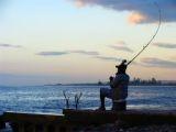 tropical beach scene, fishing in Jamaica,