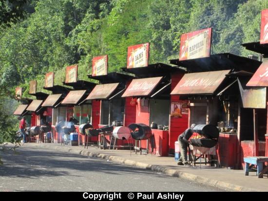 red shacks