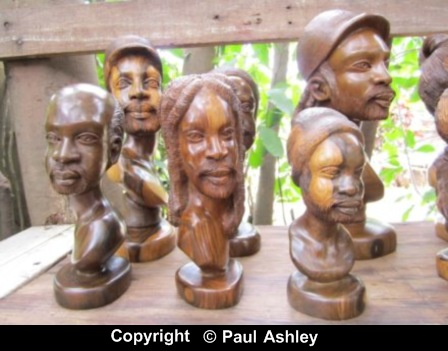 wooden sculpton, jamaican heads